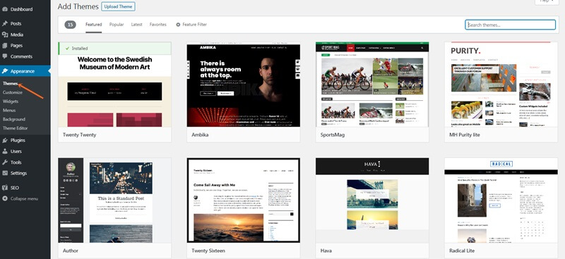 Install free wordpress theme