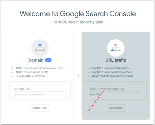 Add a domain name to search console