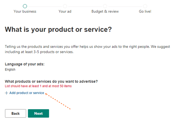 add service or product