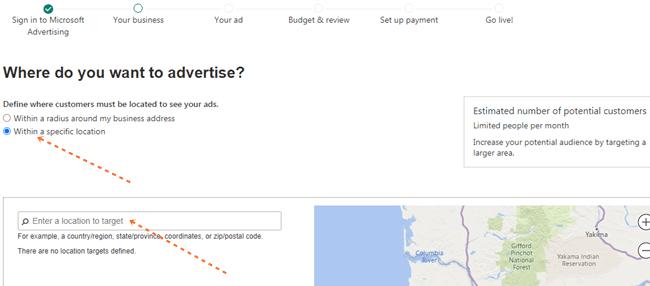 bing ads location