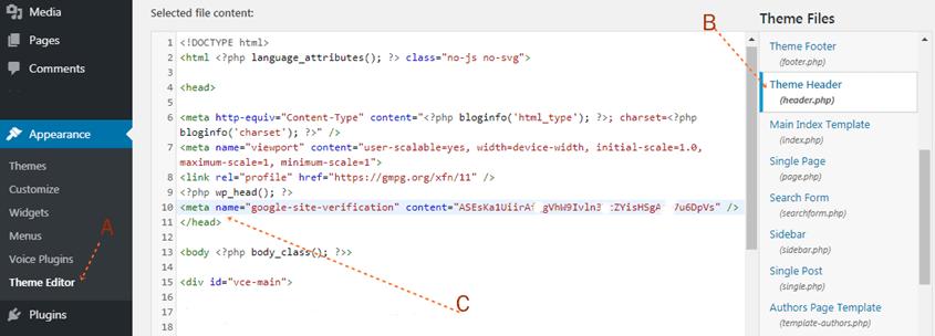 insert html tag into web header