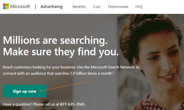 Sign up Bing Ads